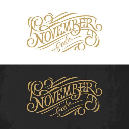 November vintage typography. Golden lettering on white and black background. Vector template for banner, greeting card, poster, print design. Banner in retro style. Illustration