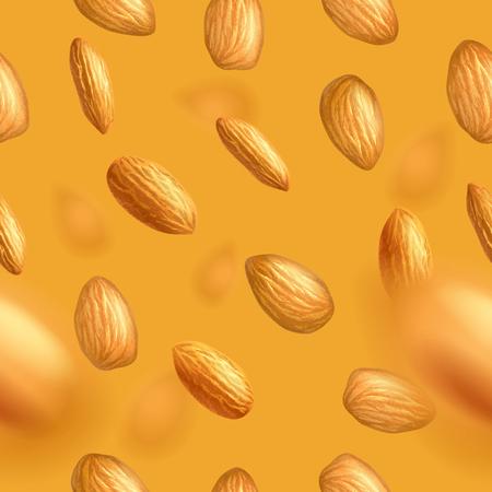Nahtloses Muster mit fliegenden Mandeln. Realistische Vektorillustration. Vorlage für Druck- und Verpackungsdesign, Website, Postkarte, Textil, Kleidung. Fotorealistischer Vektorhintergrund. EPS10