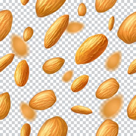 Nahtloses Vektormuster mit fliegenden Mandeln auf transparentem Hintergrund. Realistische Vektorillustration. Vorlage für Druck- und Verpackungsdesign, Website, Postkarte, Textil, Kleidung. EPS10