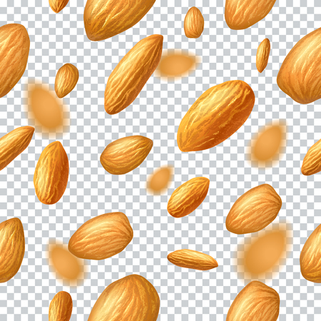 Seamless vector pattern with flying almonds on transparent background. Realistic vector illustration. Template for print and packaging design, website, postcard, textile, clothing. EPS10