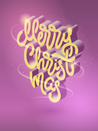 3d isometric typography Merry Christmas. Beautiful Christmas illustration with lettering for posters, greeting cards, invitations, banners. Hand drawn volume calligraphy. EPS10 Illustration