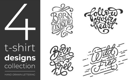 T-shirt designs collection on white isolated background. Set of vector lettering for t-shirt design. Vintage handwritten typography collection. Vector illustration for printshops. Vettoriali