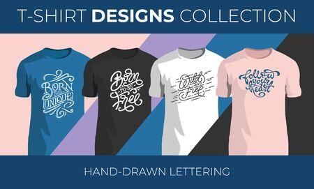 Set of hand drawn vector lettering for t-shirt design. Vintage handwritten typography collection. Vector illustration for printshops.