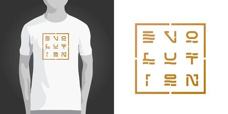 Conceptual inscription Evolution. Print design with typography for men or women T-shirt. Golden lettering in shape of square. Can be used as logo for your company. Vector illustration.