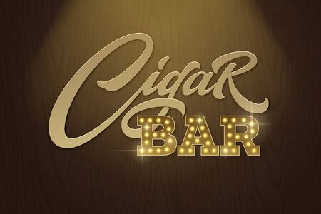 Lettering Cigar Bar in retro style on background of dark brown wood texture. Vector template for design signboards in vintage style. Modern typography, font composition.