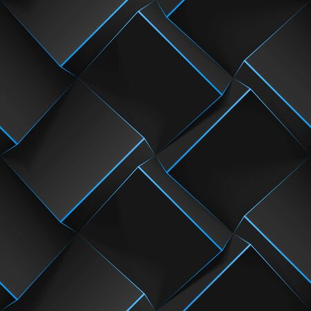 Volumetric abstract texture with black cubes with thin blue lines. Realistic geometric seamless pattern for backgrounds, wallpaper, textile, fabric and wrapping paper. Vector realistic illustration.