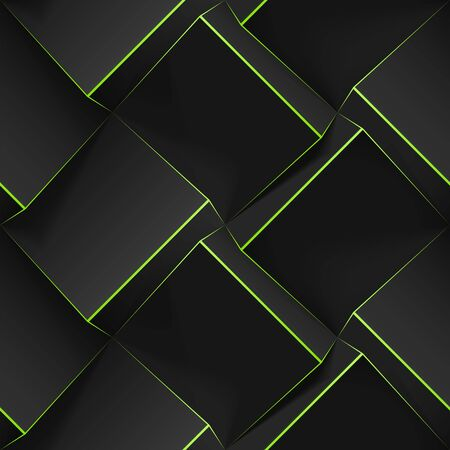 Dark seamless geometric pattern. Realistic 3d cubes with thin green lines. Vector template for wallpapers, textile, fabric, wrapping paper, backgrounds. Texture with volume extrude effect. Vectores