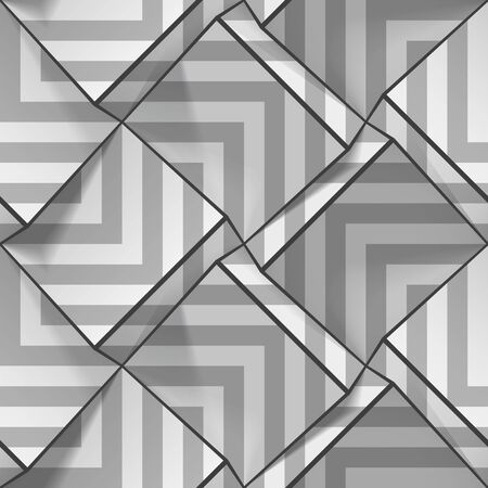 Light gray seamless geometric pattern with strips. Volume cubes with optical effect. Vector template for wallpapers, textile, fabric, wrapping paper, backgrounds. Abstract texture with extrude effect.