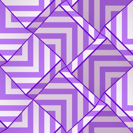 Light seamless geometric pattern with volume cubes and lilac strips. Vector template for wallpapers, textile, fabric, wrapping paper, backgrounds. Abstract texture with volume extrude effect. Vectores