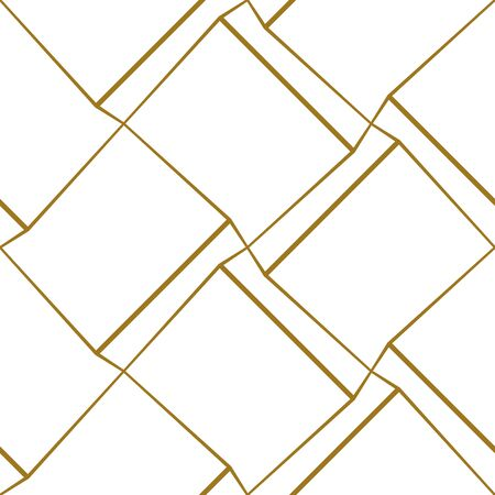 Geometric seamless pattern with thin golden lines on white background. Vector illustration for wallpapers, textile, fabric, wrapping paper, backgrounds.