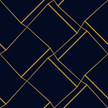 Geometric cubic seamless pattern with thin golden lines on dark blue background. Vector illustration for wallpapers, textile, fabric, wrapping paper, backgrounds.