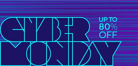 Neon lettering Cyber Monday in cyberpunk style on blue background. Retro banner for sale offers. Vector illustration.