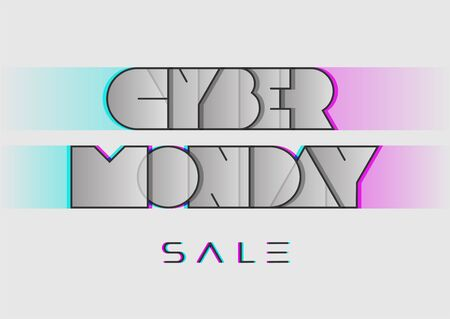 Light banner on the sale with Cyber Monday lettering in retro style. Typography with glitch effect. Vector illustration for sale offers. Vectores