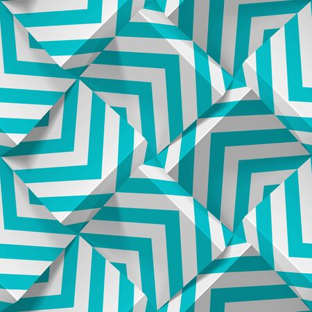 Seamless geometric pattern. Realistic 3d cubes from white paper with strips. Vector template for wallpapers, textile, fabric, wrapping paper, backgrounds. Abstract texture with volume extrude effect.