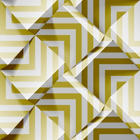 Light seamless geometric pattern. Realistic 3d cubes with golden strips. Vector template for wallpapers, textile, fabric, wrapping paper, backgrounds. Abstract texture with volume extrude effect.