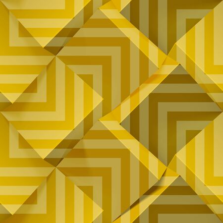 Golden seamless geometric pattern. Realistic 3d cubes with strips. Vector template for wallpapers, textile, fabric, wrapping paper, backgrounds. Abstract texture with volume extrude effect.