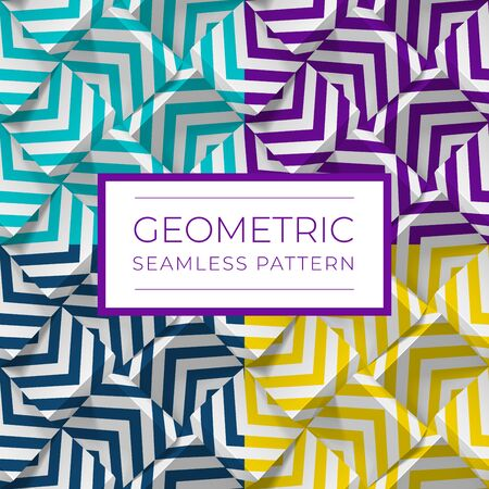 Set of colorful geometric seamless patterns. 3d cubes with strips. Illustration for wallpapers, textile, fabric, wrapping paper, backgrounds. Texture with volume extrude effect. Vector template. Vectores