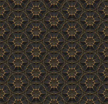 Dark seamless polygonal pattern with triangles. Black texture with bright orange thin lines. Vector geometric illustration for background, wallpaper interior, textile, wrapping paper and print design.