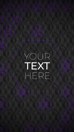 Abstract banner with sacred geometry. Dark geometric background with violet thin lines and copy space. Vector design template for signboard, social media banner and advertisement. Vectores