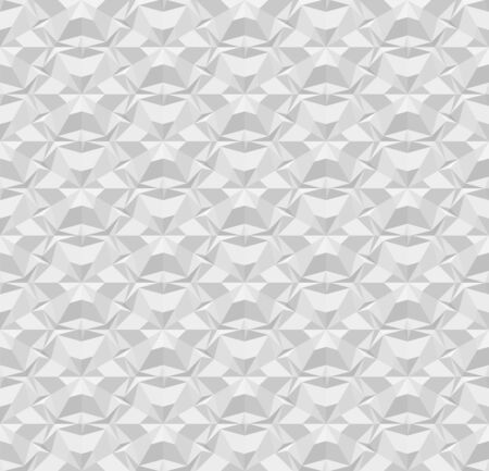 Light gray polygonal seamless paper pattern. Repeating geometric texture with extrusion effect. 3D vector illustration with origami effect for background, wallpaper, interior, wrapping paper.