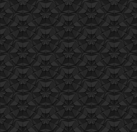Black polygonal seamless pattern with triangles. Dark repeating geometric texture with extruded surface effect. 3D illustration for background wallpaper interior textile wrapping paper print design.