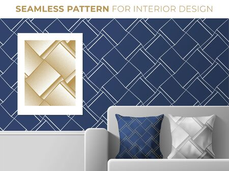 Set of geometric seamless patterns for interior design. Texture for wallpapers, textile, fabric, print design. Trendy dark blue and golden colors. Vector illustration.