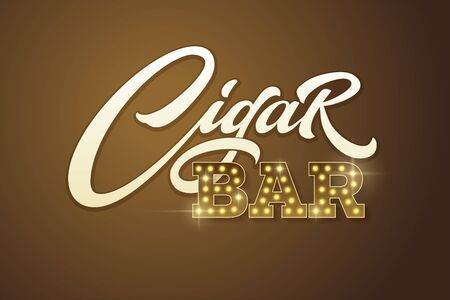 Typography Cigar Bar in vintage style on dark brown background. Vector template for design signboards in vintage style. EPS10