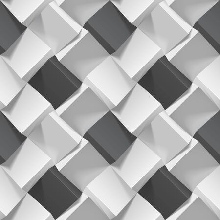 Seamless geometric pattern with realistic black and white cubes. Vector template for wallpapers, textile, fabric, wrapping paper, backgrounds. Texture with volume extrude effect. Vector illustration. Vectores
