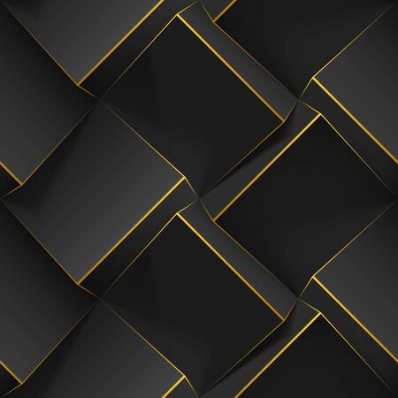 Dark abstract seamless geometric pattern. Realistic 3d cubes with thin golden lines. Vector template for wallpapers, textile, fabric, wrapping paper, backgrounds. Texture with volume extrude effect.