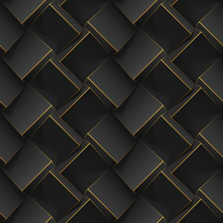 Seamless geometric pattern with realistic black 3d cubes. Vector template for wallpapers, textile, fabric, poster, flyer, backgrounds or advertising. Texture with extrude effect. Vector illustration. Vectores