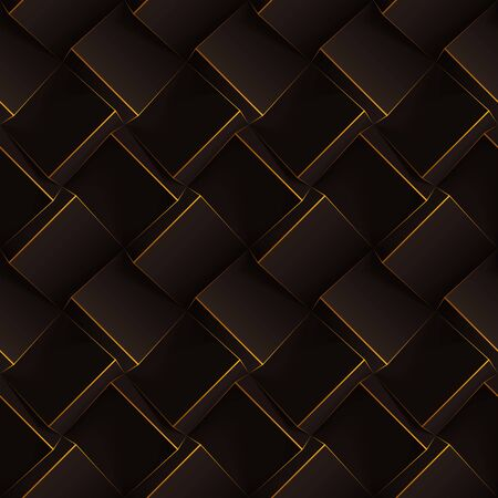 Dark brown seamless geometric pattern. Realistic cubes with thin orange lines. Vector template for wallpapers, textile, fabric, wrapping paper, backgrounds. Texture with volume extrude effect.