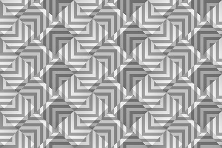Monochrome geometric seamless pattern with gray strips. Template for wallpaper, textile, fabric, wrapping paper, background Vector texture with optical effect. Vector illustration with 3d cubes.