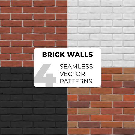 Brick walls seamless vector pattern. Brown, white, red, black stone texture for banner, interior, website, 3D, game, design, background. Set of photorealistic close up.