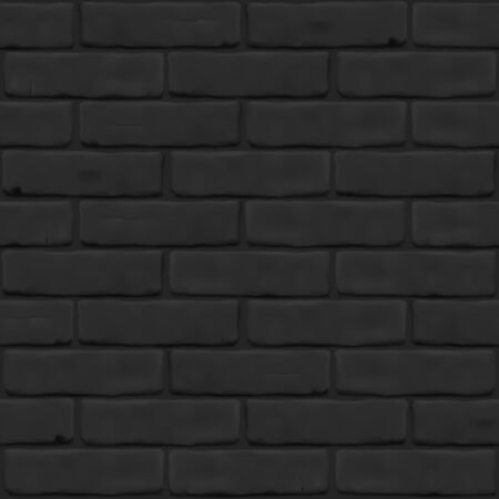 Photorealistic texture of black brick wall as background. Masonry close up for 3D, exterior, interior, website, backdrop. Seamless vector pattern.