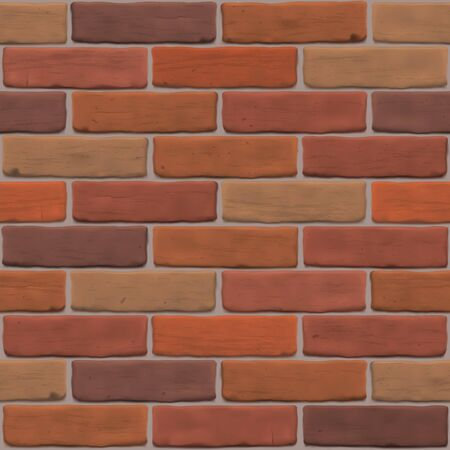 Brown brick wall for exterior, interior, website, backdrop, background, graphic, 3D design. Photorealistic texture close up. Editable seamless vector pattern.