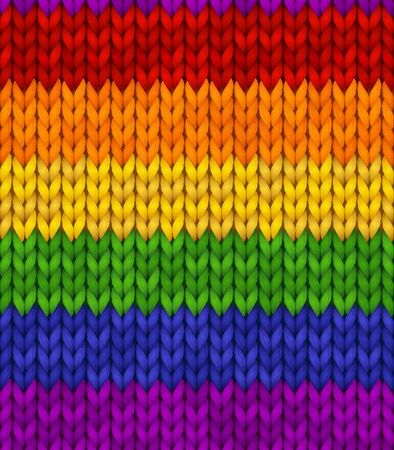 Rainbow realistic knit texture. Editable background for banner, site, card, wallpaper. Vector illustration for pride.
