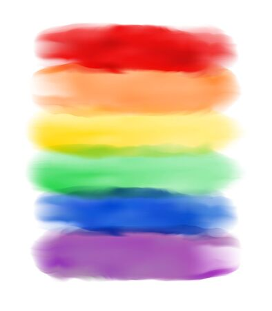 Six color Rainbow realistic watercolor brush strokes on white isolated background. Editable vector template for print, background, shirt.