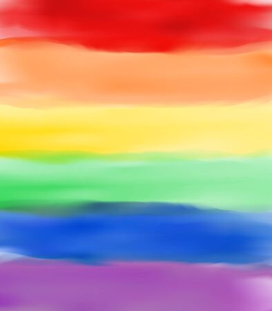 Rainbow Watercolor illustration for  pride flag or background. Symbol of pride. Six colored stripes texture. Vectores