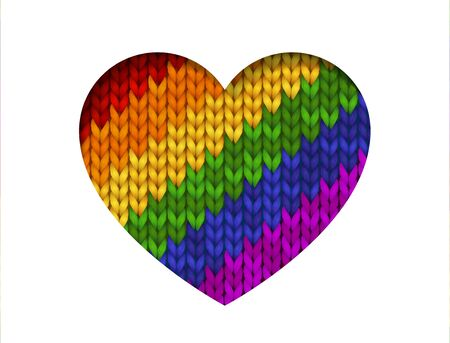 Six colour rainbow knitted heart shape for isolated on white background. Vector illustration. Symbol of love. Sticker, shirt print,  design. Vectores