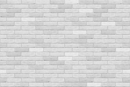 White brick wall texture background for wallpaper, graphic web design, 3D, game. Realistic seamless vector pattern.