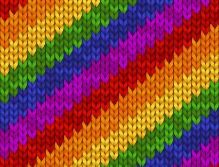 Realistic knitted vector illustration. Rainbow texture, symbol   Flag of pride. Seamless pattern for background, wallpaper, print, design.