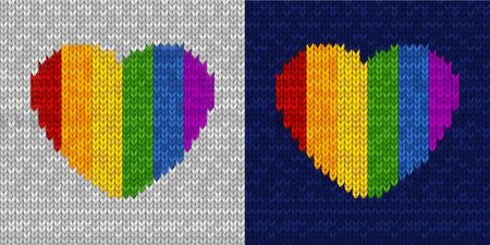 Knitted seamless pattern with rainbow heart shape on gray and dark blue background. Vector illustration for Valentines Day, pride. Symbol of love. Template for postcard, invitation, poster, print.
