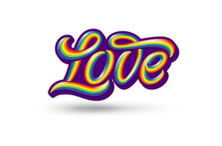 Illustration with colorful handwritten LOVE typography on isolated white background. Symbol of pride and love. Template with lettering for Sticker, shirt print, design.