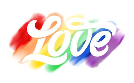 Vector illustration for  community. LOVE typography on rainbow watercolor flag of pride, isolated on white background texture. Symbol of love. Design for Sticker, t-shirt print,  design. Vectores
