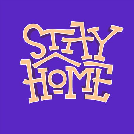 Stay home faux bold text on dark background. Logo for self quarantine times. Coronavirus, COVID protection lettering. Vector illustration for decor, kids rooms, pillows, banner, cups, posters. Vectores