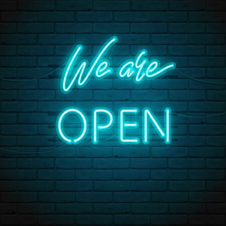 We are OPEN lettering with bright glowing neon for design of sign on door of a shop, cafe, bar or restaurant, club, night bright ad. Vector typographic illustration. Glow night ad outdoor, indoor. Vectores
