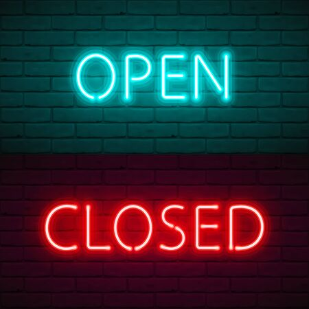 OPEN CLOSED lettering with bright neon glow on dark brick wall background. Vector Illustration typography for sign door of shop, cafe, bar or restaurant, night club. Quarantine closure information.