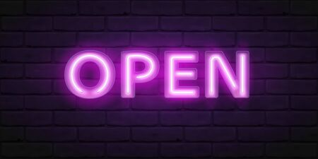 Glowing violet neon script OPEN. Vector font for typography design. Bright font with fluorescent tubes in boxing. Lettering illustration for design of sign on the door of shop, cafe, bar or restaurant