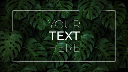 Vector horizontal template with copy space for your text in frame on dark background. Realistic Illustration with 3D tropical leaves monstera for cover, poster, banner, invitation card, ad, web design