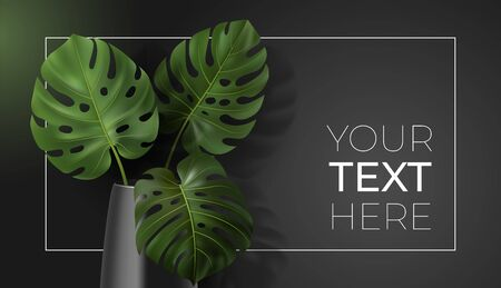 Vector poster with green tropical leaves monstera in vase on dark background. Botanical illustration with copy space for your text in frame for interior, home decor, poster, banner, card, ad, design Vectores